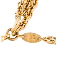 Chanel - Metallic Magnifying Medallion Bead Necklace Gold - Lyst