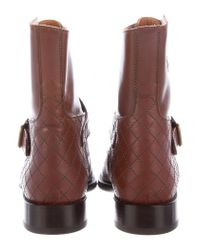 Chanel - Brown Quilted Monk-strap Ankle Boots - Lyst