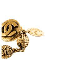 Chanel - Metallic Textured Bead Link Necklace - Lyst