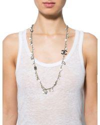 Chanel - Metallic Cc Marquise Crystal Sautoir Silver - Lyst