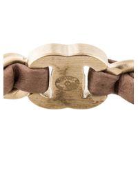 Chanel | Metallic Cc Woven Chain Bangle Bracelet Gold | Lyst