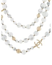 Chanel - Metallic Long Howlite Bead Cc Necklace Gold - Lyst