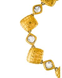Chanel - Metallic Crystal & Square Link Necklace Gold - Lyst