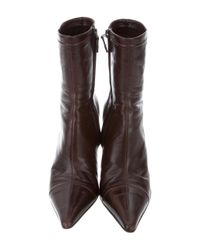 Chanel - Brown Leather Cc Ankle Boots - Lyst