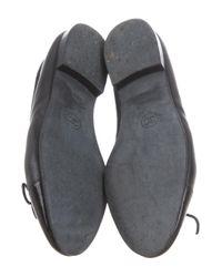 Chanel - Black Leather Cap-toe Flats - Lyst