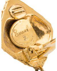 Chanel | Metallic Matelassé & Bow Drop Clip-on Earrings Gold | Lyst