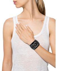 Chanel | Metallic Crystal Cc Resin Cuff W/ Tags Silver | Lyst