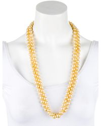 Chanel - Metallic Pearl Bead Necklace Gold - Lyst
