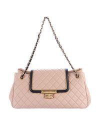 Chanel - Metallic E/w Lambskin Accordion Flap Bag Beige - Lyst