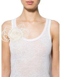 Chanel - Metallic Silk & Feather Camellia Brooch Gold - Lyst