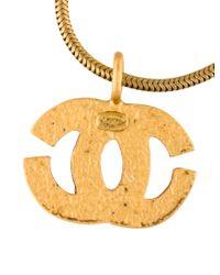 Chanel - Metallic Cc Pendant Necklace Gold - Lyst