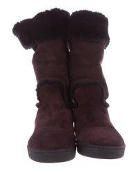 Chanel - Purple Shearling Cc Boots Plum - Lyst