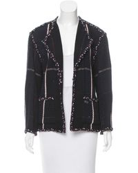 Chanel - Blue Tweed Open Front Jacket Navy - Lyst