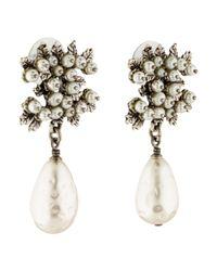 Chanel - Metallic Cc Faux Pearl Drop Earrings Silver - Lyst