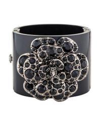 8b0ea6ebe96 Lyst - Chanel Camellia Crystal Cuff Bracelet in Black