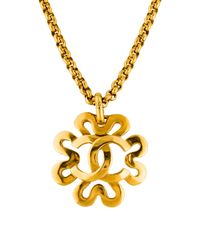 Chanel | Metallic Cc Clover Pendant Necklace Gold | Lyst