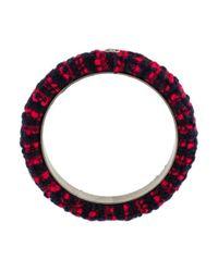 Chanel - Metallic Tweed Bangle Bracelet Silver - Lyst