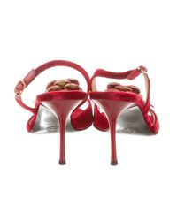 Chanel - Metallic Velvet Camellia Slingback Sandals Gold - Lyst