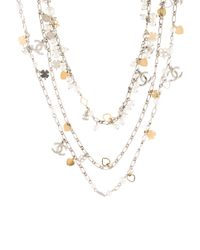 Chanel - Metallic Faux Pearl Multistrand Chain Necklace Gold - Lyst