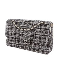 Chanel - White Tweed Classic Medium Double Flap Bag - Lyst