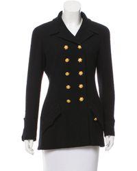 Chanel - Metallic Wool Double-breasted Jacket Black - Lyst