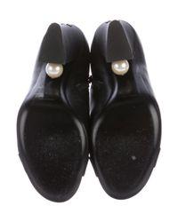 Chanel - Metallic Pearl Cc Booties Black - Lyst