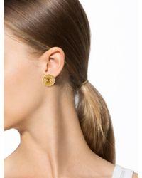 Chanel - Metallic Cc Textured Clip-on Earrings - Lyst
