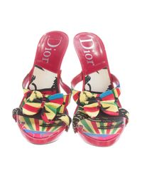 Dior - Metallic Butterfly-accented Slide Sandals Red - Lyst