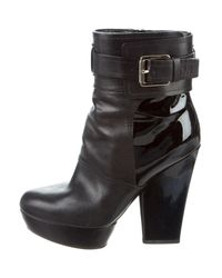 Dior - Metallic Patent Leather-accented Platform Ankle Boots Black - Lyst