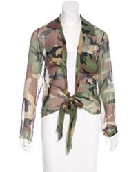Dior | Green Camouflage Print Long Sleeve Top Olive | Lyst