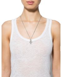 Dior - Metallic Teddy Bear Pendant Necklace Silver - Lyst