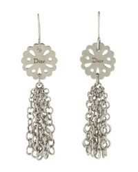 Dior - Metallic Tassel Drop Earrings Silver - Lyst