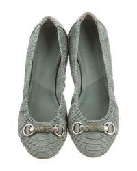 Dior - Metallic Python Round-toe Flats Silver - Lyst