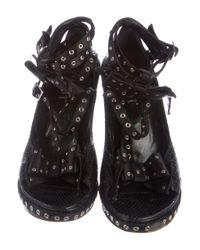 Dior - Metallic Snakeskin Grommet Accented Sandals Black - Lyst