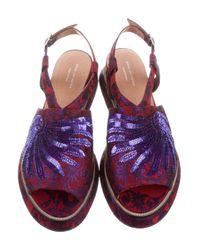 Dries Van Noten - Red Brocade Flatform Sandals W/ Tags - Lyst