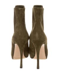 Gianvito Rossi - Green Suede Round-toe Ankle Boots - Lyst