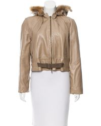 Louis Vuitton - Natural Fox Fur-trimmed Leather Jacket Khaki - Lyst