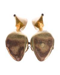 Miu Miu - Metallic Miu Jewel-embellished Slide Sandals - Lyst