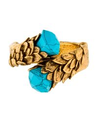 Roberto Cavalli - Metallic Turquoise Hinged Bypass Bangle Bracelet Gold - Lyst