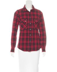 Étoile Isabel Marant - Red Wool-blend Plaid Print Top - Lyst