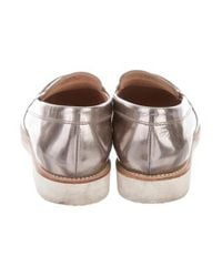 Tod's - Gray Metallic Round-toe Loafers Pewter - Lyst