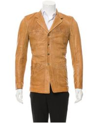 Roberto Cavalli - Brown Leather Button-up Jacket W/ Tags for Men - Lyst