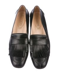 Tod's - Black Leather Kiltie Loafers - Lyst