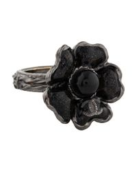 Chanel - Black Cc Resin Flower Cocktail Ring - Lyst