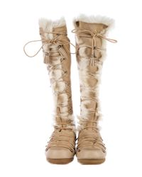 Emilio Pucci - Natural Shearling Knee-high Snow Boots Beige - Lyst