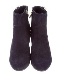 Tory Burch - Metallic Logo Ankle Boots Navy - Lyst
