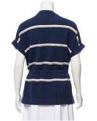 Brunello Cucinelli - Blue Striped Cashmere Knit Top - Lyst