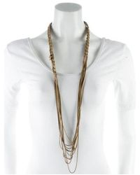 Chanel - Metallic Cc Braided Chain Necklace Gold - Lyst