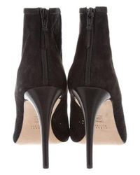 Stuart Weitzman - Black Perforated Suede Ankle Boots - Lyst
