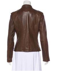 MICHAEL Michael Kors - Brown Michael Kors Leather Biker Jacket - Lyst